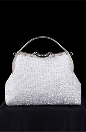 Sequined Chain Top Handle White Clutch Bags