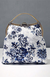 Blue and White Floral Top Handle Clutch Bags