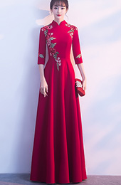 Floor Length Wine Red Embroidered Qipao /Cheongsam Dress