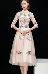 Bridesmaid Pink Embroidered Tulle Qipao / Cheongsam Dress