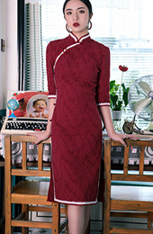 2018 Winter Red Knee Length Qipao / Cheongsam Dress