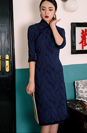 2018 Winter Navy Blue Knee Length Qipao / Cheongsam Dress