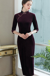 Purple Velvet Tea-Length Qipao / Cheongsam Dress