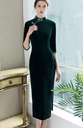 Green Velvet Tea-Length Qipao / Cheongsam Dress
