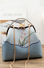 Blue Silk Printing Chain Top Handle Clutch Bags