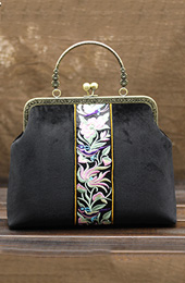 Black Embroidered Chain Top Handle Clutch Bags