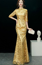 Gold Sequined Fishtail Qipao / Cheongsam Evening Dress