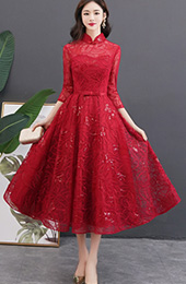Wine Red Sequined Tea Length Qipao / Cheongsam Party Dress
