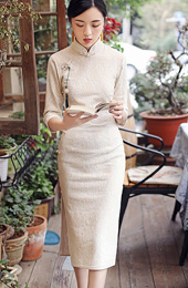 White Knee Length Winter Qipao / Cheongsam Dress
