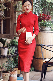 Red Knee Length Winter Qipao / Cheongsam Dress