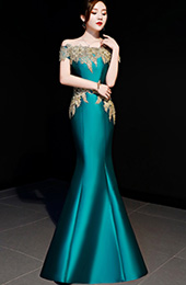 Green Off Shoulder Fishtail Qipao / Cheongsam Party Dress
