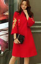 Red Gold Embroidered Women Chinese Tang Coat