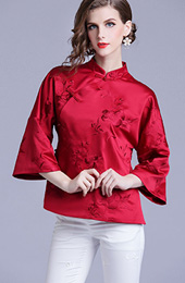 Wine Red Embroidered Bell Sleeve Qipao Blouse Top