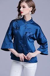 Royal Blue Embroidered Bell Sleeve Qipao Blouse Top