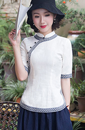 White Linen Qipao / Cheongsam Blouse Top with Half Sleeve