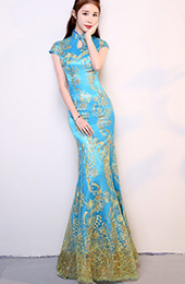 Blue Sequined Mermaid Chinese Qipao / Cheongsam Dress