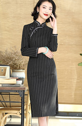 Black Midi Striped Qipao / Cheongsam Winter Dress