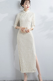 Beige Lace Long Qipao / Cheongsam Party Dress with Half Sleeve
