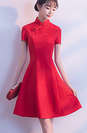 Red A-Line Striped Lace Qipao / Cheongsam Wedding Dress