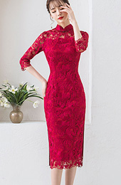 Wine Red Lace Mid Qipao / Cheongsam Dress with Half Sleeve