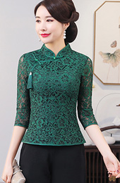 Green Lace Qipao / Cheongsam Blouse Top
