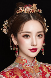 Chinese Traditional Bridal Hair Clips & Earrings