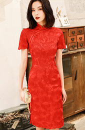 Red Lace Knee Length Modern Qipao / Cheongsam Dress