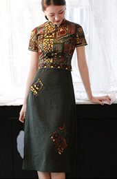 Green Embroidered Midi Modern Qipao / Cheongsam Dress