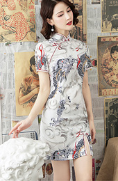 Printing Dragon Short Modern Cheongsam / Qipao Party Dress