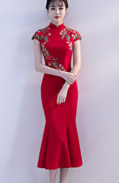 Red Embroidered Midi Qipao / Cheongsam Evening Dress