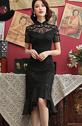 Black Lace Mid Cheongsam / Qipao Dress with Pep Hem