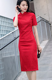 Red Lace 2019 Mid Cheongsam / Qipao Party Dress
