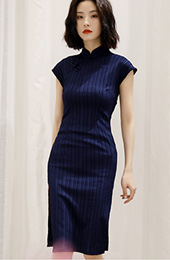 Navy Blue Striped Mid Cheongsam / Qipao Dress