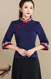 Navy Blue Linen Qipao / Cheongsam Blouse Top