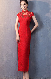 Red Lace Long Beads Qipao / Cheongsam Wedding Dress