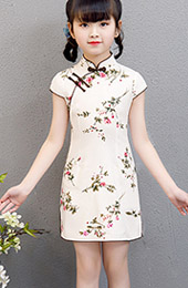 Kid's Floral Linen Cheongsam / Qipao Dress