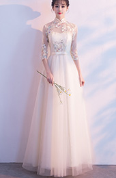 Champagne Embroidered Tulle Qipao / Cheongsam Evening Dress