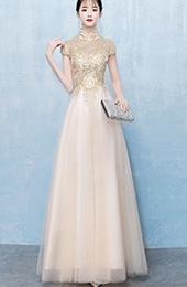 Gold Tulle Floor Length Qipao / Cheongsam Evening Dress