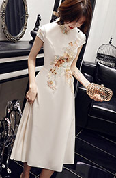White Floral A-Line Mid Qipao / Cheongsam Party Dress