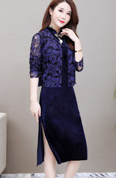 Two Piece Bride Mother Blue Velvet Qipao / Cheongsam Dress