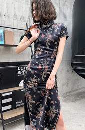 Black Dragon Phoenix Long Qipao / Cheongsam Party Dress