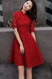 Wine Red A-Line Lace Short Qipao / Cheongsam Dress