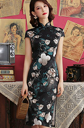 Black Floral Mid Qipao / Cheongsam Party Dress