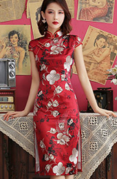 Red Floral Mid Qipao / Cheongsam Party Dress
