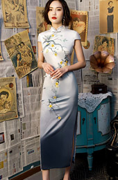 2019 Gray Floral  Long Cheongsam / Qipao Party Dress