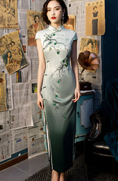 2019 Green Floral Long Cheongsam / Qipao Party Dress