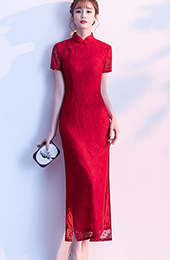 Red Lace Slit Long Qipao / Cheongsam Prom Dress