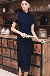 Navy Blue Lace Slit Long Qipao / Cheongsam Prom Dress