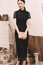 Black Lace Slit Long Qipao / Cheongsam Prom Dress