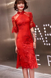 Red Frill Sleeve Lace  Wedding Qipao / Cheongsam Dress